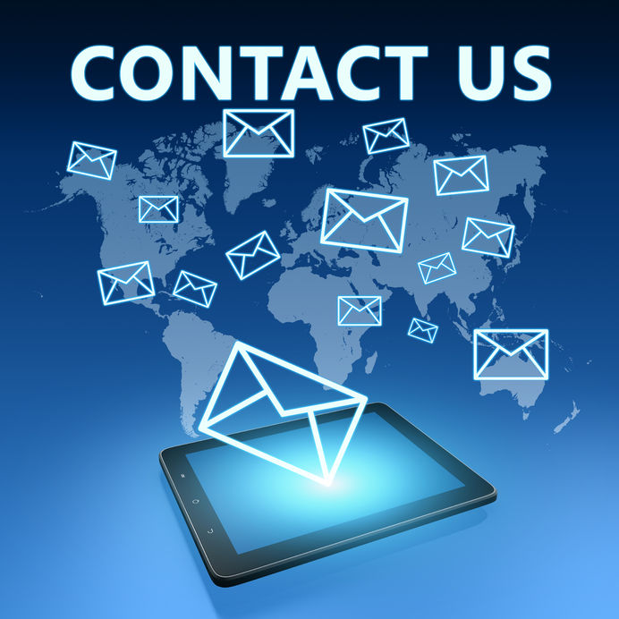 31829184 - contact us illustration with tablet computer on blue background